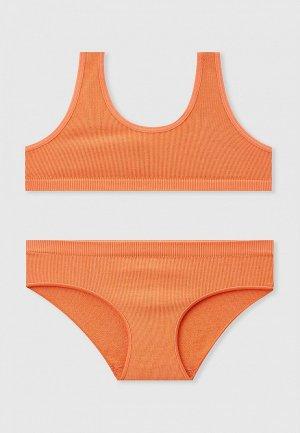 Майка и трусы Sela. Цвет: оранжевый
