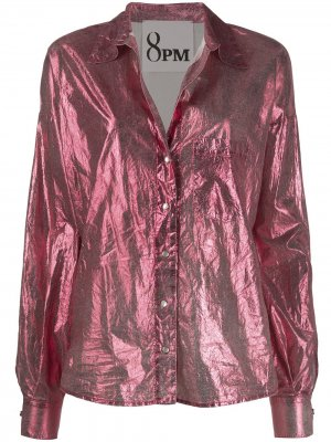 Рубашка с длинными рукавами и эффектом металлик 8pm. Цвет: розовый
