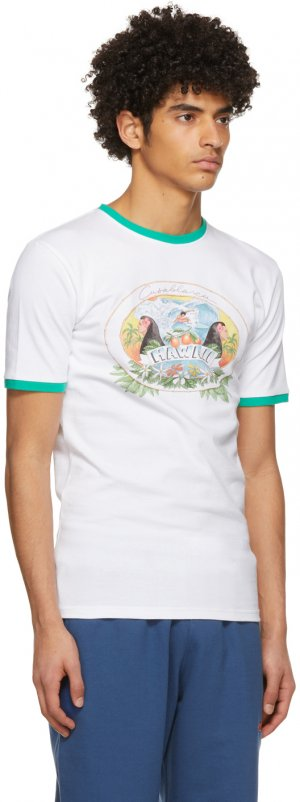 White Hawaii Printed Ringer T-Shirt Casablanca. Цвет: white- hawaii