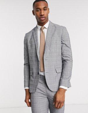 Светло-серый пиджак в клетку New Look