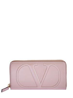 Кошелек VLOGO из гладкой телячьей кожи VALENTINO GARAVANI. Цвет: розовый