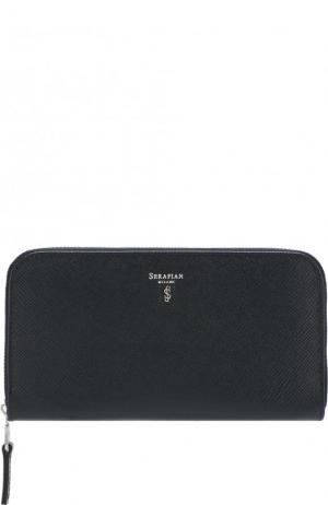 Кожаный футляр для документов с отделениями кредитных карт Serapian. Цвет: темно-синий