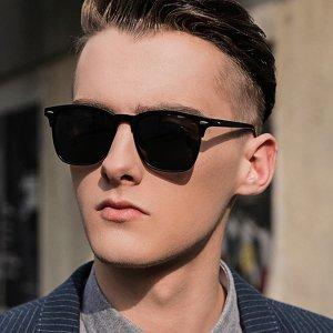 Мужские поляризованные солнечные очки с акриловой оправой SHEIN. Цвет: чёрный