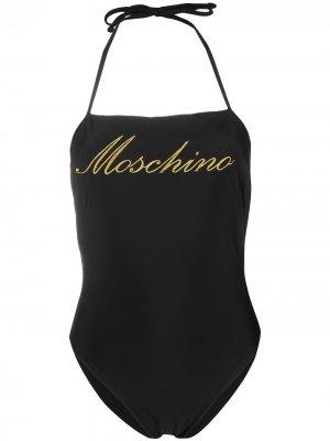 Купальник с вышитым логотипом Moschino. Цвет: черный