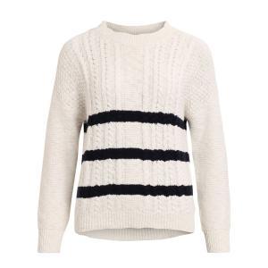 Пуловер с круглым вырезом из плотного трикотажа VILA. Цвет: в полоску экрю/темно-синий