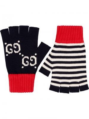 Перчатки без пальцев Gucci. Цвет: синий