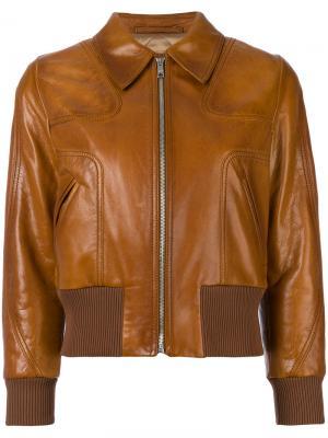 Кожаный бомбер Prada. Цвет: коричневый