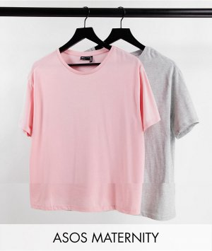 Эксклюзивный набор из 2 пижамных футболок серого и розового цвета ASOS DESIGN Maternity-Разноцветный Maternity