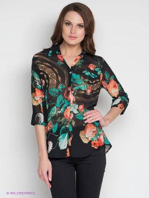 Блузка DRS Deerose. Цвет: черный, зеленый, красный