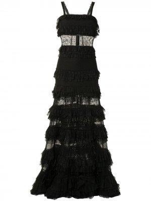 Ярусное платье Amaryllis с оборками Alexis. Цвет: черный