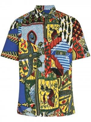 Рубашка с контрастными вставками Gitman Vintage. Цвет: синий