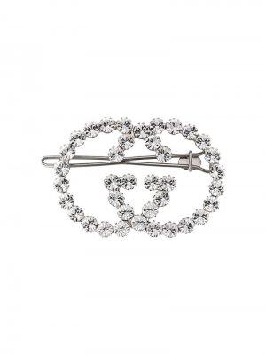Заколка для волос с кристаллами в форме логотипа GG Gucci. Цвет: золотистый