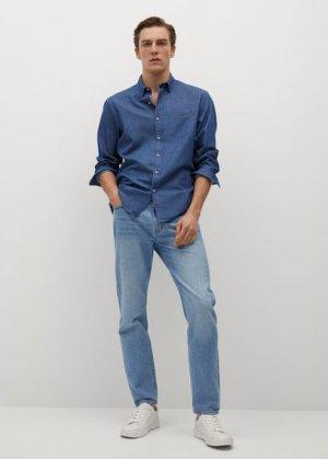 Джинсовая рубашка regular-fit с карманом - Chambre Mango. Цвет: темно-синий