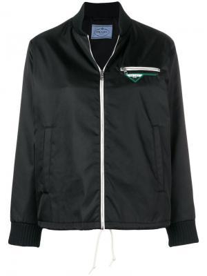 Куртка-бомбер на молнии Prada. Цвет: черный