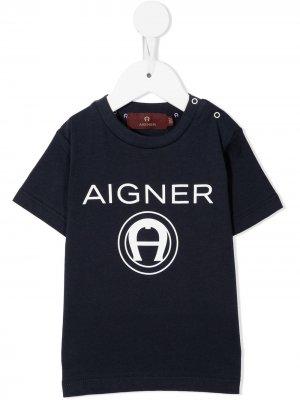Футболка с логотипом Aigner Kids. Цвет: синий