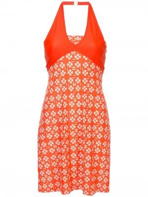 Платье для плавания с принтом Chanel Pre-Owned. Цвет: оранжевый