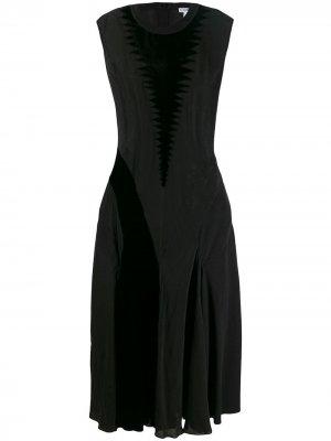 Длинное платье с бархатными нашивками LOEWE. Цвет: черный