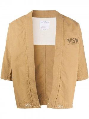 Жакет-кимоно с контрастной строчкой visvim. Цвет: коричневый