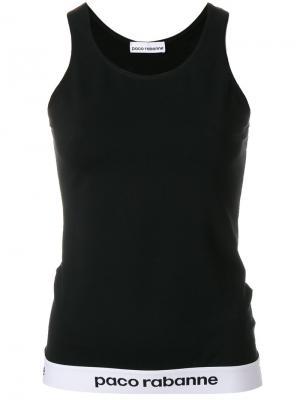 Майка без рукавов с логотипом на подоле Paco Rabanne. Цвет: чёрный