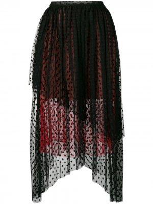 Присборенная юбка из тюля в горох Christopher Kane. Цвет: черный