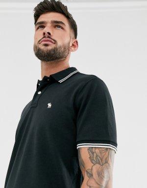 Поло черного цвета из ткани пике с окантовкой и логотипом Abercrombie & Fitch. Цвет: черный