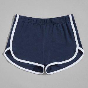 Мужские шорты для сна с контрастной отделкой SHEIN. Цвет: темно-синий