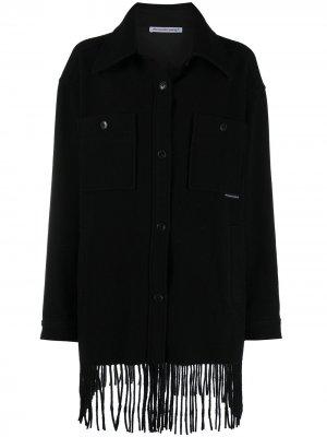 Однобортная куртка с бахромой T By Alexander Wang. Цвет: черный