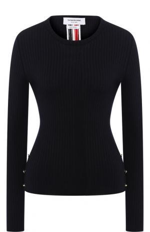 Шерстяной пуловер с круглым вырезом Thom Browne. Цвет: темно-синий