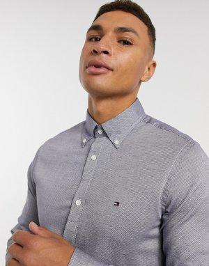 Рубашка узкого кроя с длинными рукавами -Темно-синий Tommy Hilfiger