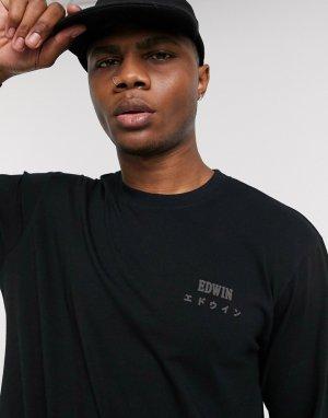 Черный лонгслив с логотипом Edwin