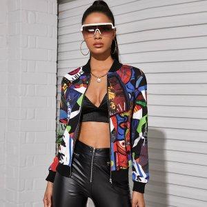 Куртка-бомбер с молнией и графическим принтом SHEIN. Цвет: многоцветный