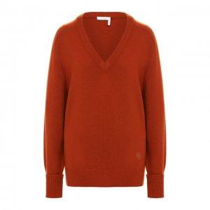 Кашемировый пуловер Chloé. Цвет: оранжевый