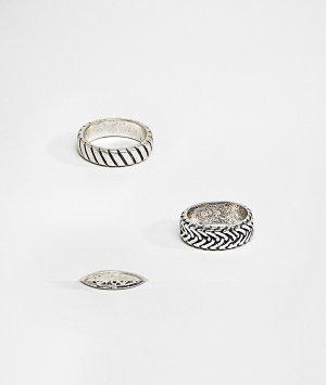 Набор из 3 серебристых колец с гравировкой ASOS DESIGN