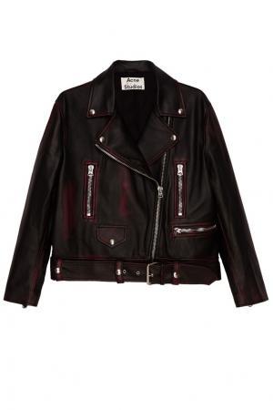 Кожаная куртка с красными потертостями Merlyn Acne Studios. Цвет: черный