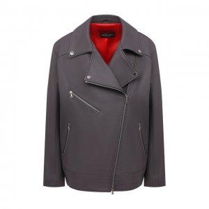 Кожаная куртка Maslov. Цвет: серый