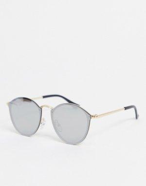 Круглые золотистые солнцезащитные очки -Золотистый SVNX