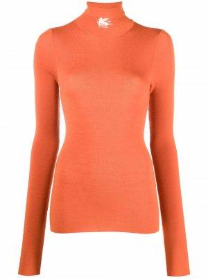 Джемпер с вышитым логотипом ETRO. Цвет: оранжевый