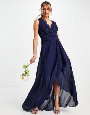 Темно-синее шифоновое платье макси с юбкой запахом Bridesmaid-Темно-синий TFNC