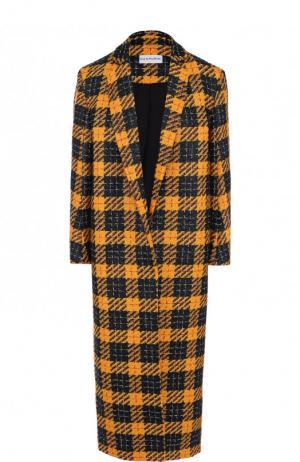 Шерстяное пальто с укороченным рукавом в клетку Chapurin. Цвет: разноцветный