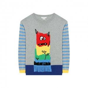 Хлопковый пуловер Stella McCartney. Цвет: разноцветный