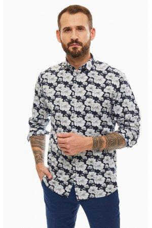 Рубашка Jack & Jones. Цвет: синий, цветочный принт