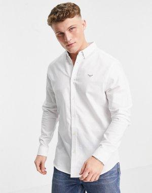 Белая оксфордская рубашка с длинными рукавами -Белый Threadbare