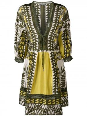Платье-туника с геометрическим узором Alberta Ferretti. Цвет: зеленый