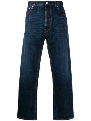 Широкие джинсы из селвидж денима с логотипом VLTN Valentino. Цвет: синий