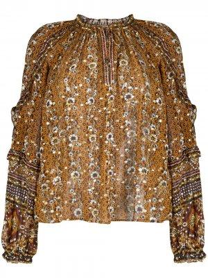 Блузка с цветочным принтом Ulla Johnson. Цвет: оранжевый