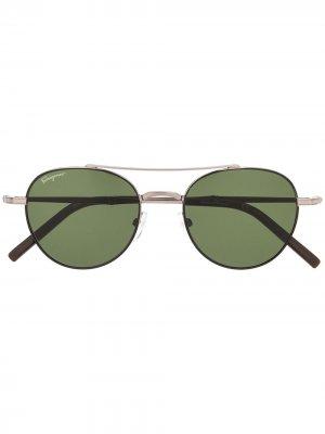Солнцезащитные очки SF224S в круглой оправе Salvatore Ferragamo. Цвет: коричневый