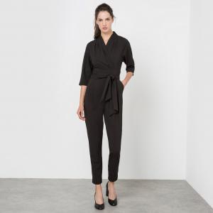 Комбинезон с брюками, рукава 3/4, большим бантом MOLLY BRACKEN. Цвет: черный