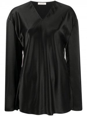 Удлиненная блузка с V-образным вырезом Nina Ricci. Цвет: черный