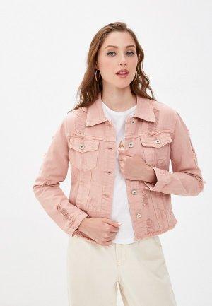 Куртка джинсовая B.Style. Цвет: розовый