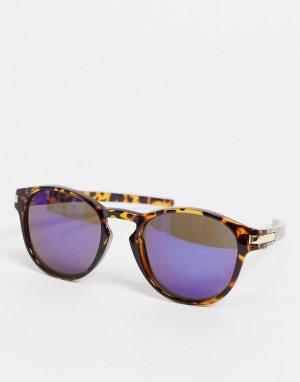 Солнцезащитные очки со звериным принтом и синими стеклами 7X-Коричневый цвет SVNX